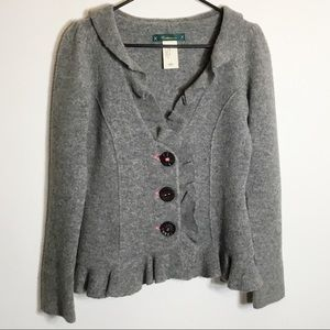 Anthro Cartonnier Gray Ruffled Cattail Cardigan